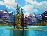 Spirit Island at Maligne Lake near Japer in the Canadian Rockies