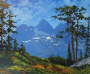 Step by Step demo of painting Triple Peak on Vancouver Island